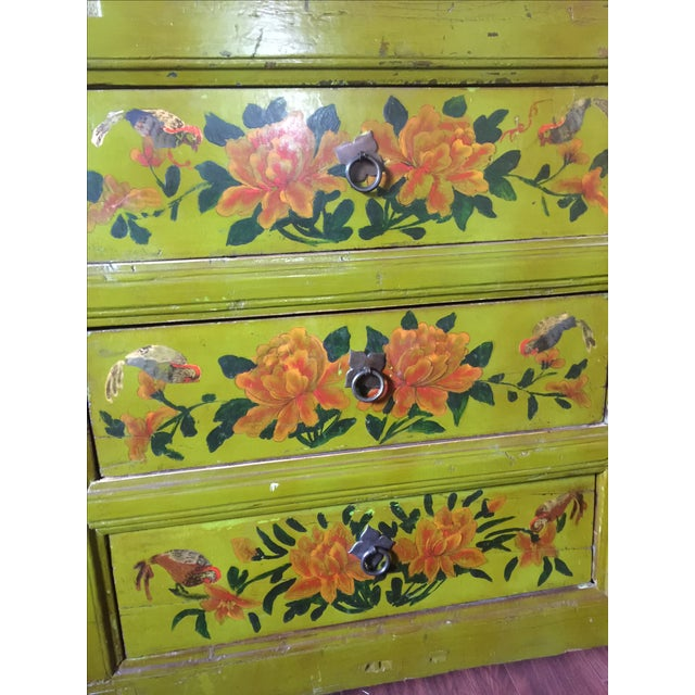 Antique Floral Painted Sideboard Cabinet - Image 7 of 7