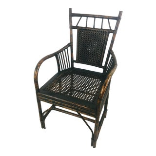 Antique Faux Tortoise Bamboo Chair For Sale