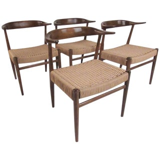 Mid-Century Horn Back Dining Chairs After Hans Wegner For Sale
