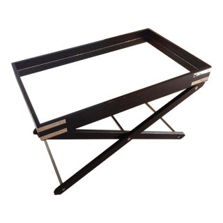 Contemporary Chrome and Ebonized Wood Coffee Table/Butlers Table For Sale