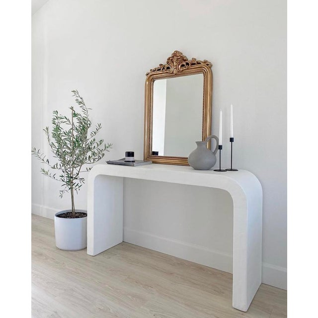 Karl Springer Marit Mid-Century Raw Plaster Waterfall Console For Sale - Image 4 of 6