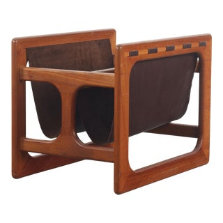 1960s Danish Mid-Century Modern Magazine Rack in Teak and Leather by Salin Mobler For Sale