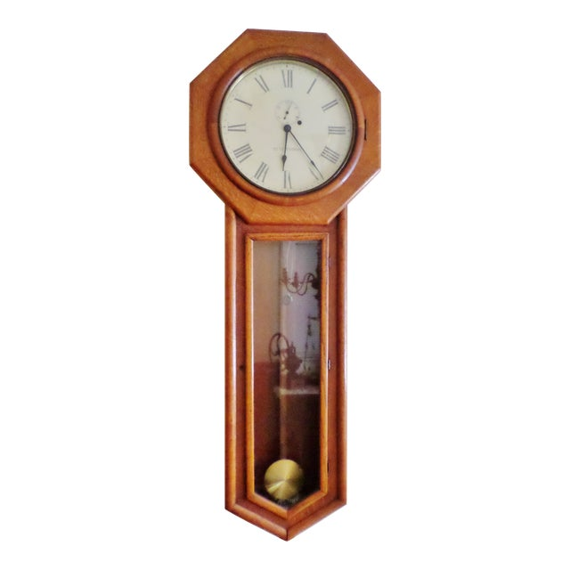 Antique Seth Thomas Regulator No. 18. Solid Oak Wood Wall Regulator Clock For Sale