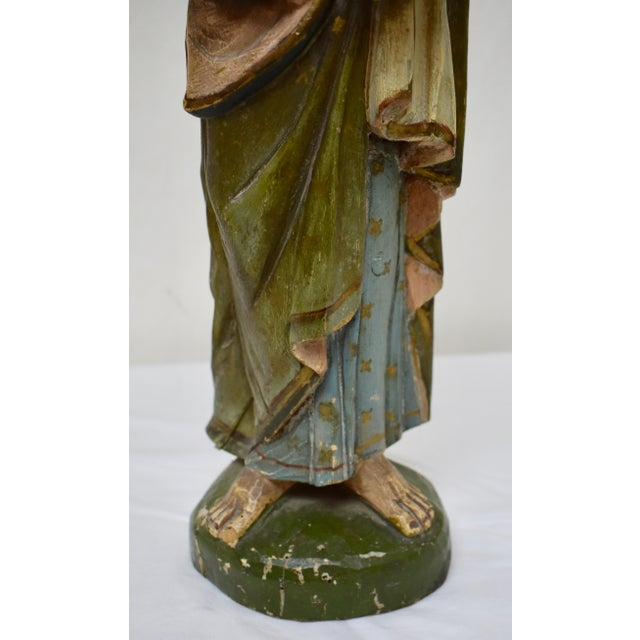 Hand-Carved Wooden Sculpture of Saint Joseph and the Christ Child For Sale In Washington DC - Image 6 of 13