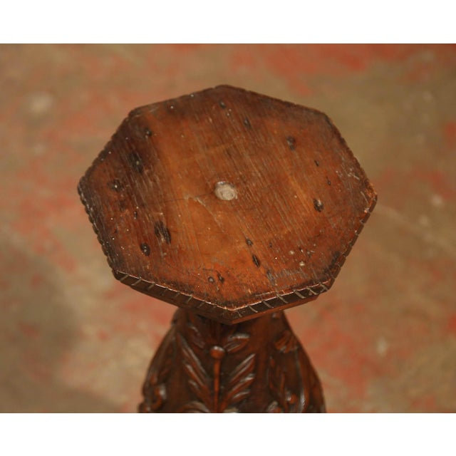 Brown 19th Century French Louis XIII Carved Walnut Pedestal Table From Normandy For Sale - Image 8 of 9