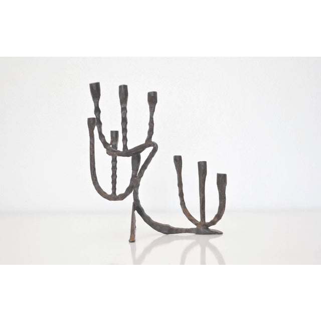 1950s Midcentury Brutalist Handwrought Candlestick For Sale - Image 5 of 10