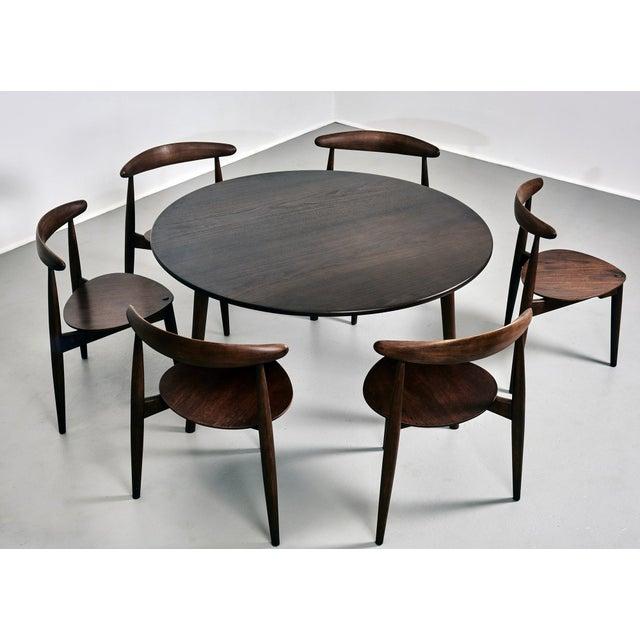 Original Dining Set designed by Hans J. Wegner for Fritz Hansen Manufactured in Denmark, circa 1952 Set of 6 Heart dining...