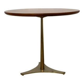 Mid-Century Modern Milo Baughman Arch Gordon Wood Brass Side Table, 1950s For Sale
