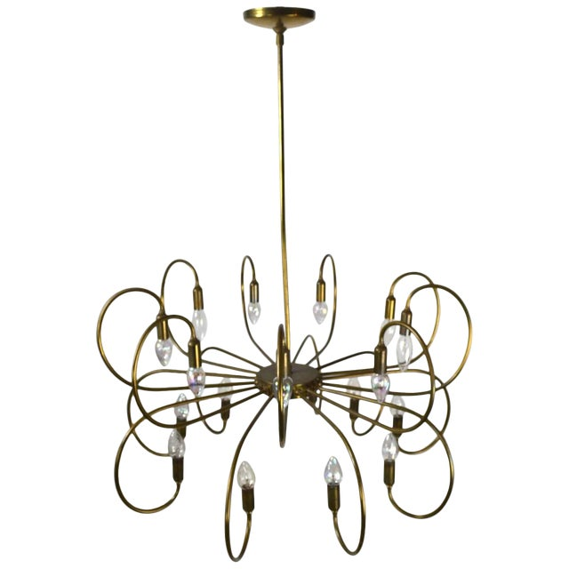 Large Eighteen-Light Brass Chandelier After Sarfatti For Sale