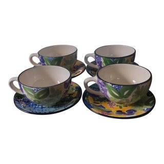 1990s Favanol Martinique Cups and Saucers - Set of 4 For Sale