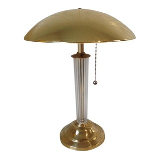 Hollywood Regency Brass & Lucite Desk Lamp For Sale