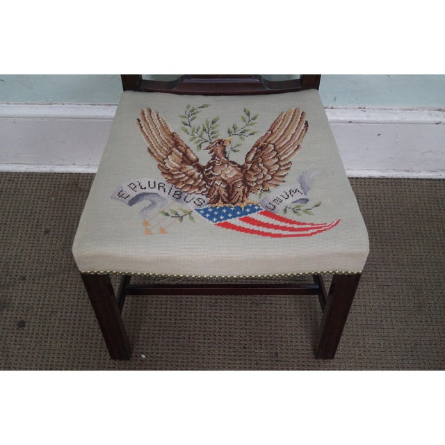 Wood Antique Chippendale Style Eagle Needlepoint Side Chair For Sale - Image 7 of 10