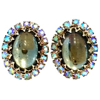 20th Century Sterling Silver & Art Glass Swarovski Crystal Earrings For Sale