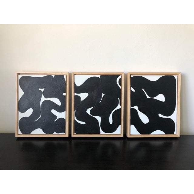 Eternity Framed Abstract Triptych in Black and White For Sale In Los Angeles - Image 6 of 6