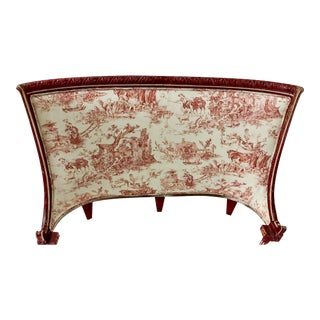 Antique French Bed in Stroheim & Romann Toile For Sale