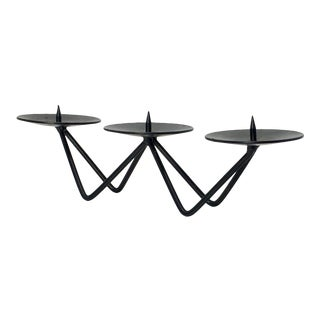 20th Century Danish Modern Wrought Iron Candle Holder For Sale
