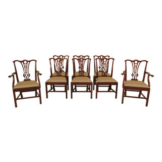 1990s Vintage Smith & Watson Mahogany Chippendale Dining Room Chairs- Set of 8 For Sale