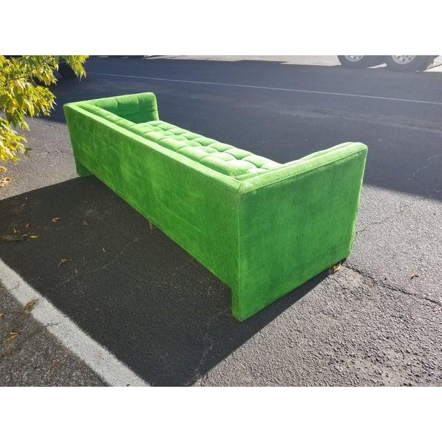 Vintage Mod Retro Mid-Century Modern Kelly Green Velvet Sofa For Sale - Image 5 of 6