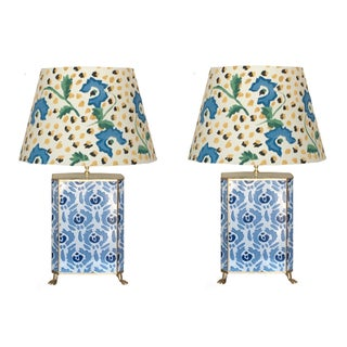 Dana Gibson Beaufont Lamps in Blue With Hand Painted Jaipur Shades - a Pair For Sale