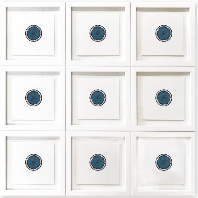 Blue Natasha Mistry Minimalist Geometric Ink Drawings - Set of 9 For Sale - Image 8 of 8