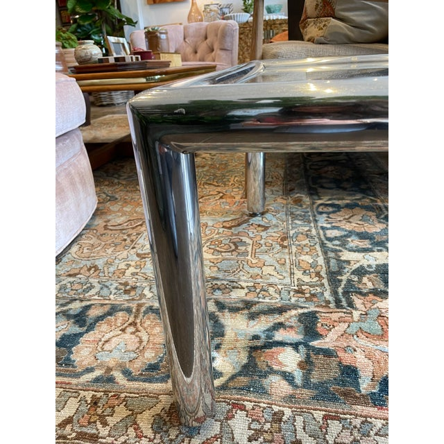 Mid 20th Century John Mascheroni Mid-Century Modern Tubo Series Chrome and Glass Coffee Table For Sale - Image 5 of 7