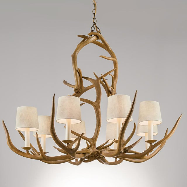 Natural antler light with 8 shades. Price includes shades (as shown). Natural materials mean every piece is unique with...