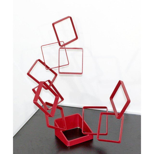 Metal 1990s Contemporary Red Metal Abstract Table Sculpture Signed Cynthia McKean For Sale - Image 7 of 12