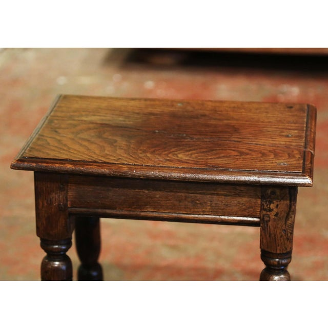 Late 19th Century 19th Century French Louis XIII Carved Chestnut Country Stool From Normandy For Sale - Image 5 of 7
