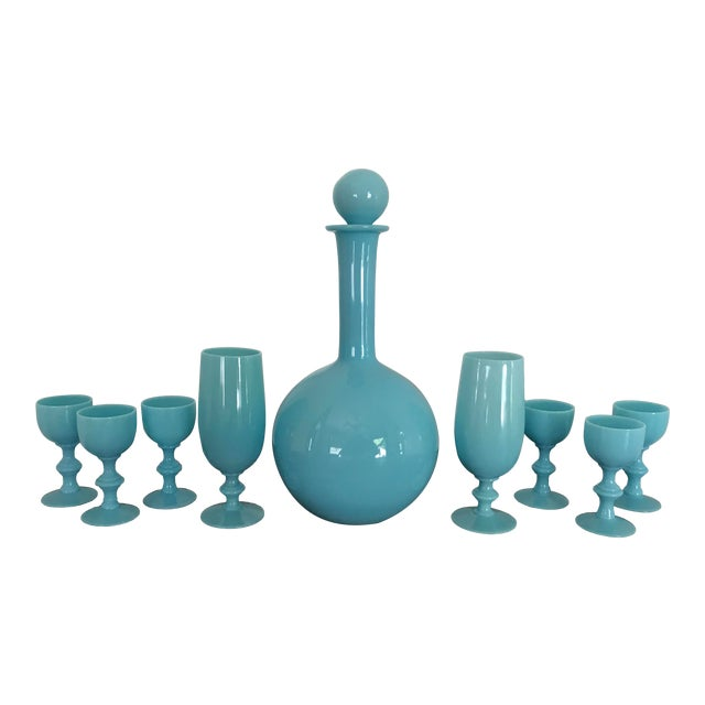 Early 20th Century French Blue Opaline Decanter & Cordial Goblets Glassware by Portieux Vallerysthal - Set of 9 For Sale
