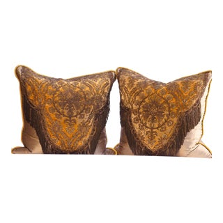 19th Century French Silk Pillows With Metal Thread Fringe - a Pair For Sale