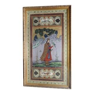 Vintage Mid-Century Falconer Framed Scroll For Sale
