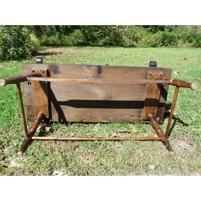 Vintage Spindle Back Harvest Stenciled Solid Pine Farmhouse Bench Settee For Sale - Image 12 of 13
