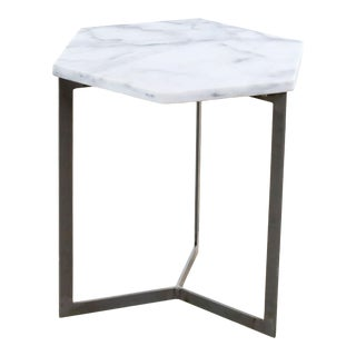 West Elm Marble and Steel Hex Side Table For Sale