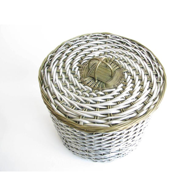 Vintage Woven Two-Tone Metal Wire Lidded Basket For Sale - Image 4 of 11