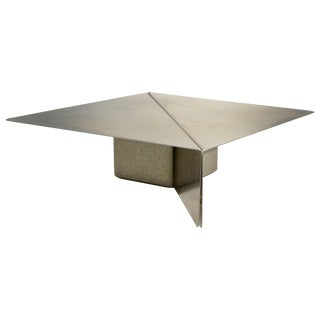 Saporiti Stainless Steel and Concrete Coffee Table by Giovanni Offredi For Sale