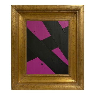 Ron Giusti Mini Abstract Violet Black Acrylic Painting For Sale