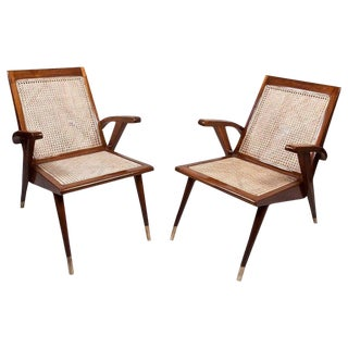 Mid-Century Modern Teak and Caned Side Chairs with Cushions - a Pair For Sale