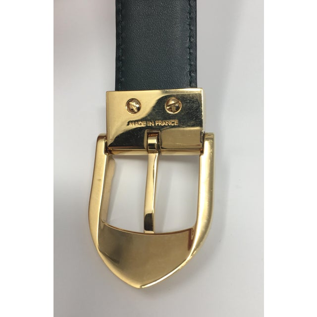 1980s Louis Vuitton Emerald Green Ladies Leather Belt For Sale - Image 5 of 7