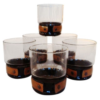 Banded Smoked Glass Rocks Glasses - Set of 6 For Sale
