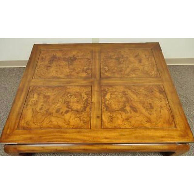 Vintage Oak Asian Style Coffee Table by Henredon. Item features Ming Dynasty inspired design, burl wood inlaid panels on...