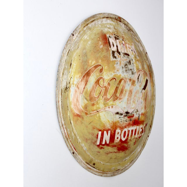 American Vintage Coca-Cola Button Sign For Sale - Image 3 of 9