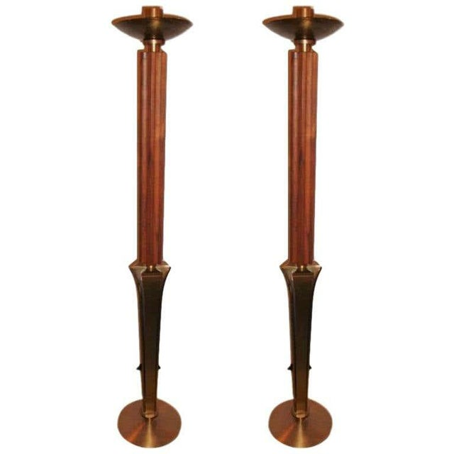 "Mid-Century Modern Teak and Brass Standing ""Prickets"" Candlesticks - a Pair For Sale In New York - Image 6 of 6"