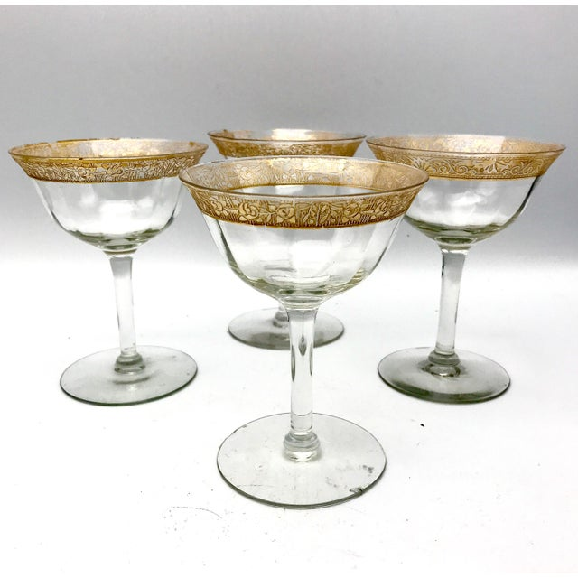 Antique Tiffin-Franciscan Minton Gold Filigree Glasses - Set of 4 For Sale In New York - Image 6 of 6