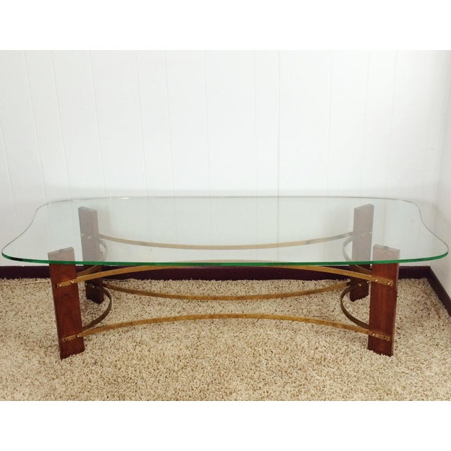 1960s Mid-Century Wood & Glass Coffee & Lighted Side Table - Set of 3 For Sale - Image 5 of 10