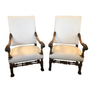 Pair 19th Century Antique French Renaissance Fauteuils For Sale