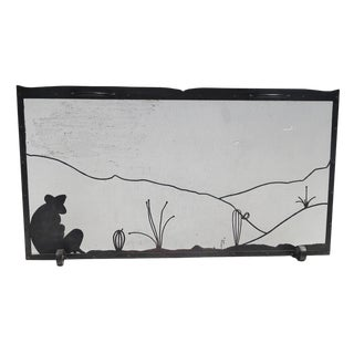 1930's Mexicana Style Iron Fireplace Screen For Sale
