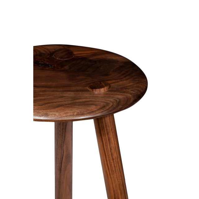 Mid-Century Modern Customizable Erickson Aesthetics Set of Three Walnut Stools For Sale - Image 3 of 5
