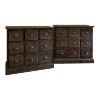 Rustic Crate and Barrel Bedford Five Drawer Dressers - A Pair For Sale