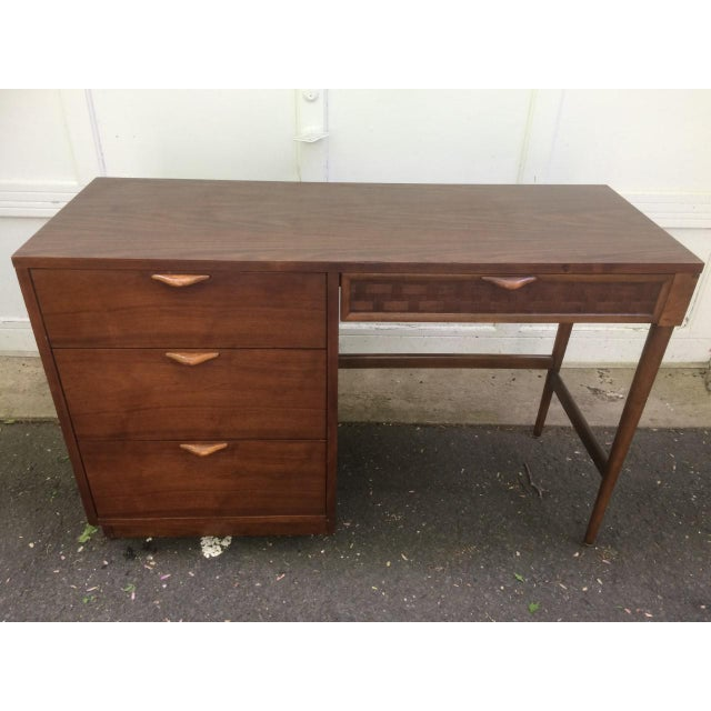 Lovely Lane desk from the Perception line. Date is stamped in the back July 13, 1965. Wood front, sides and handles....