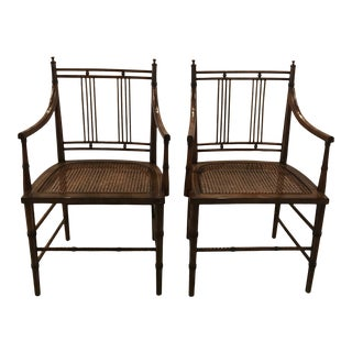 1980s Dark Fruitwood Armchairs- A Pair For Sale